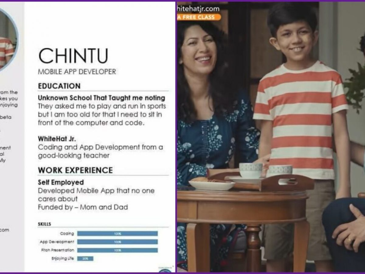 Whitehat Roblox Codes Chintu From Whitehat Jr Coding Advert Will Get His Personal Cell App Developer Resume And Its Funnily Apt Examine Hilarious Meme Sociallykeeda