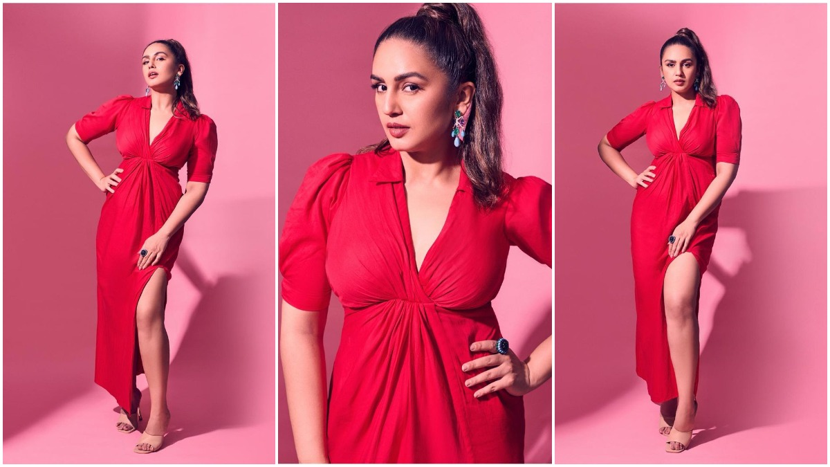 Huma Qureshi Strikes a Pose In Her Red Hot Midi Dress For Maharani Promotions – Socially Keeda